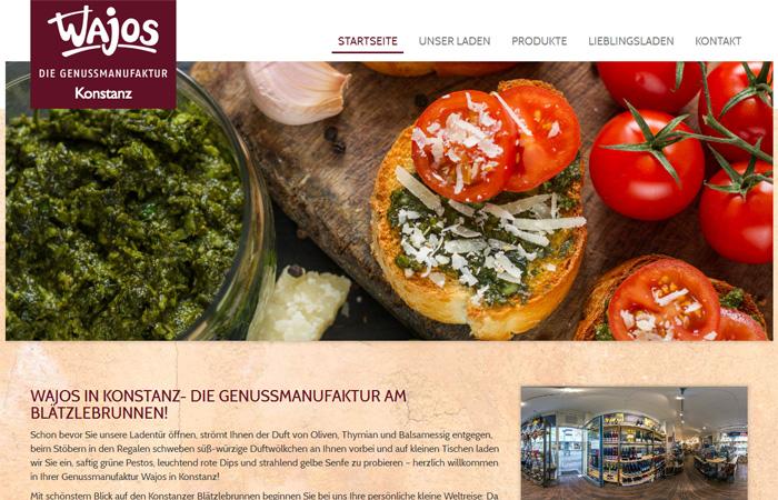 Beispiel Bildgestaltung Feinkostladen Website