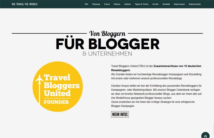 We travel the world Beispiel Webdesign-Trends