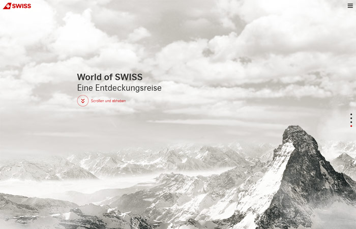 World of Swiss Beispiel Webdesign-Trends