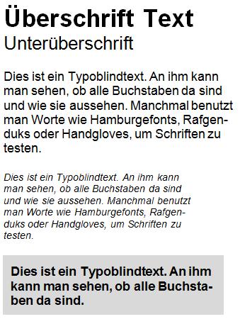 Typo Grafiken Kein harmonisches Schriftbild