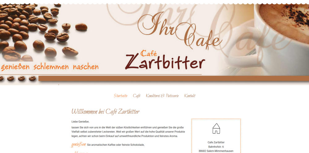 Webdesigntrends - Screenshot Café Zartbitter