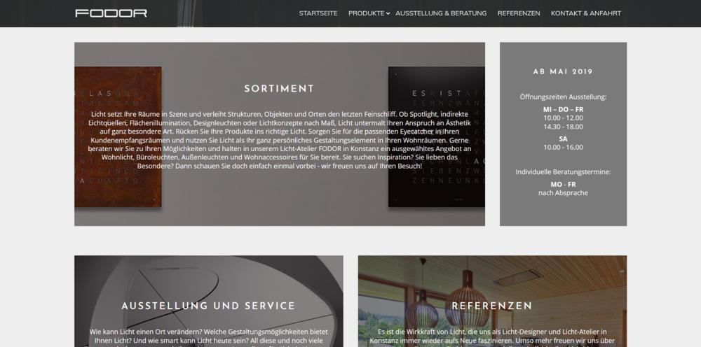 Webdesigntrends - Screenshot Fodor Licht